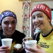 Lizzy and Sarah enjoying their Mulled Wine and Mince Pies after Litton