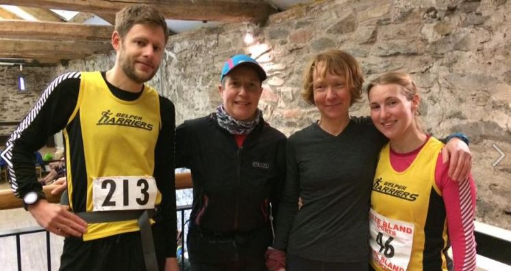 Ed, Helen, Clare and Meg tackling the Fairfield Horseshoe